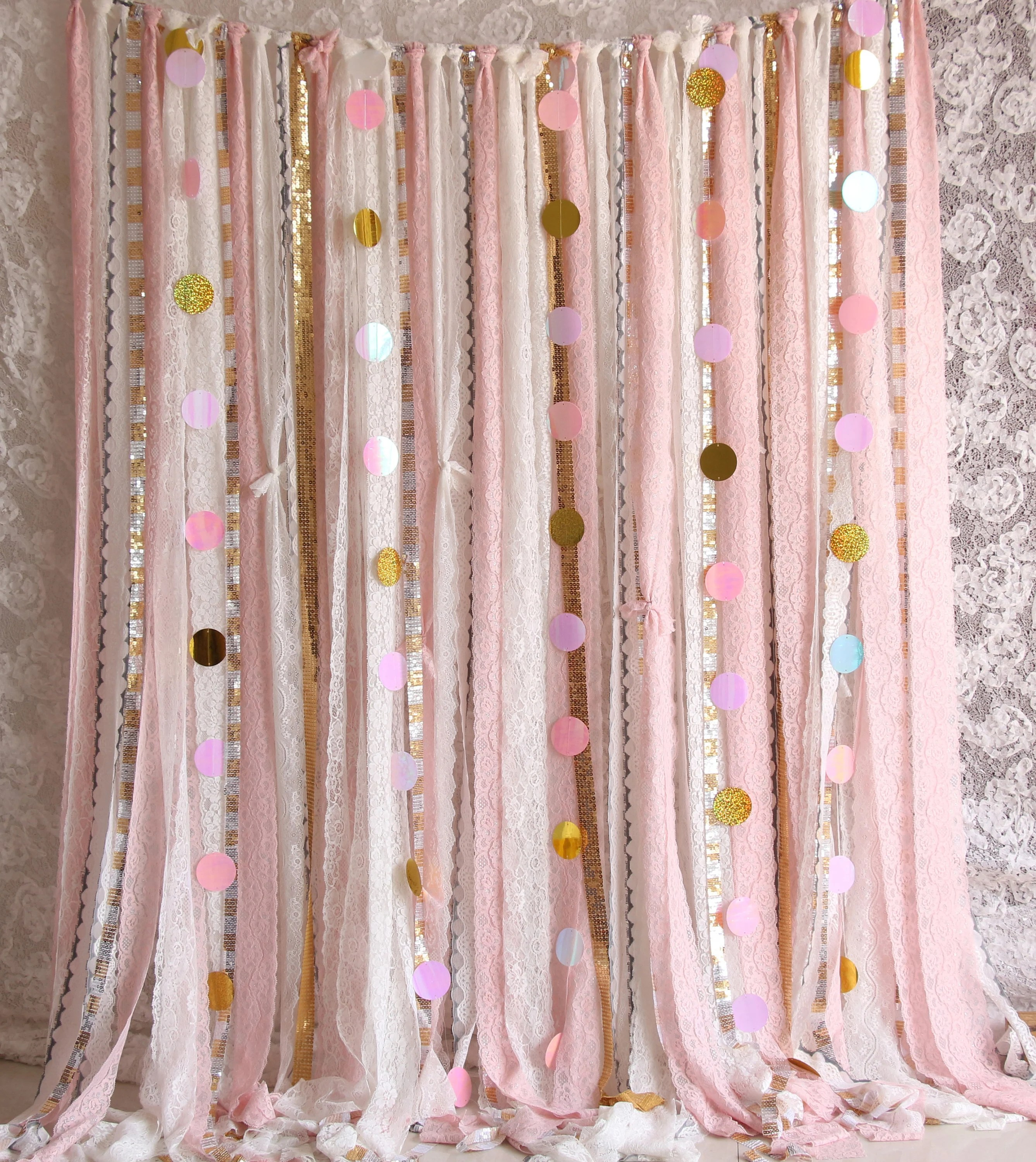 Pink Sequin Curtains Pink White Lace Sparkle Sequin Backdrop Props Photobooth Baby Shower Wedding Ceremony Stage Birthday Party Backdrop Garland Nursery Curtain