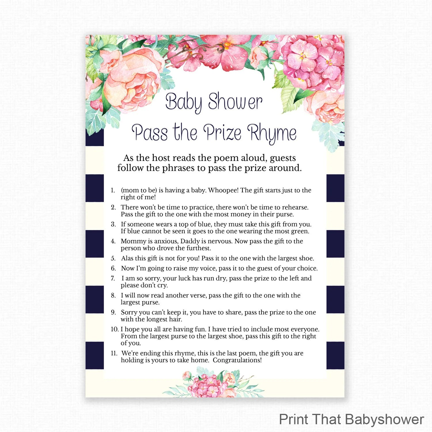 Baby Shower Game - Floral Baby Shower - Pass the Parcel Rhyme - Left
