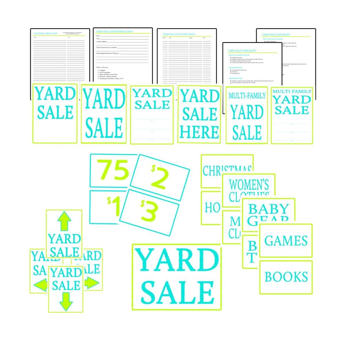 Yard Sale Kit Garage Sale Kit PDF Printables in Lime and Etsy