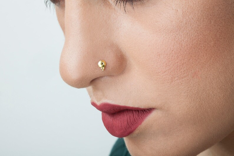 Small Gold Nose Stud Small Nose Stud Gold Indian Gold Nose Etsy