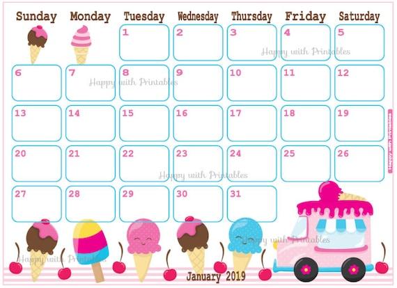 2019 weekly calendar template