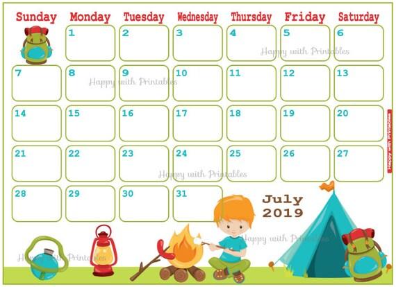 Calendar July 2019 Summer vaction Planner Printable Cute Etsy