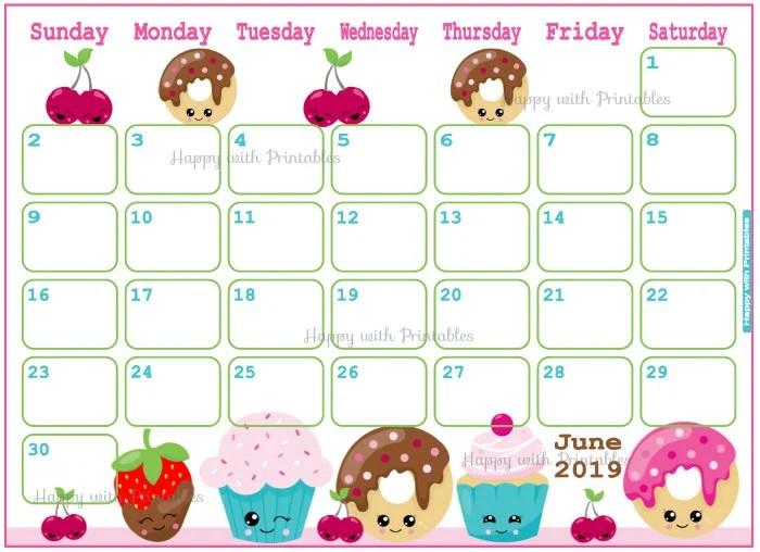 Calendar June 2019 Cute Donuts Planner Printable Cute Etsy