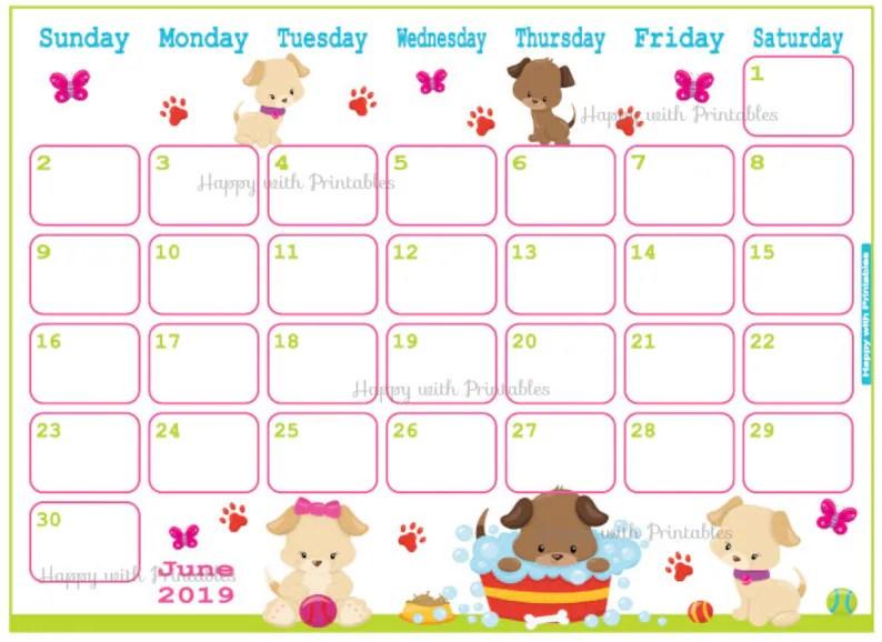 Calendar June 2019 Cute Summer Planner Printable Cute Etsy