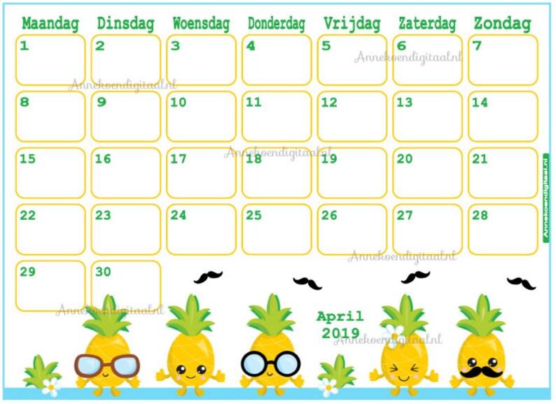 Calendar April 2019 Pineapple Planner Printable Cute Etsy