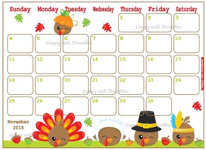 Calendar November 2018 Thanksgiving Planner Printable Etsy