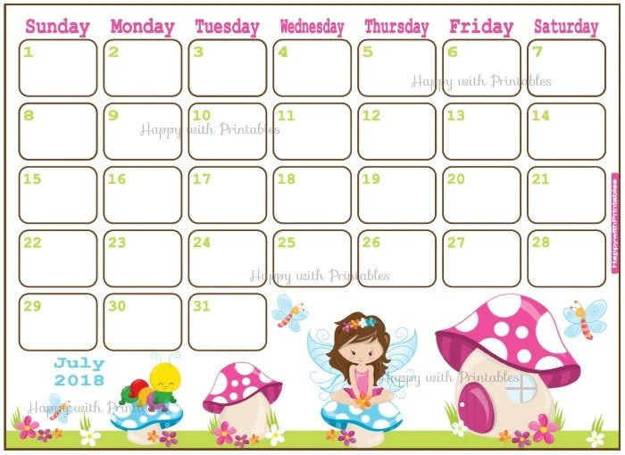 Calendar July 2018 Summer Planner Printable Cute Planner Etsy