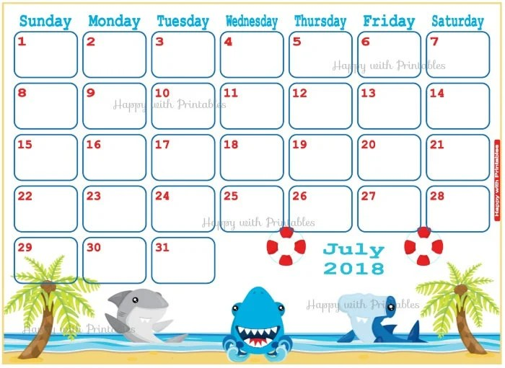 Calendar July 2018 Shark Planner Printable Summer Planner Etsy
