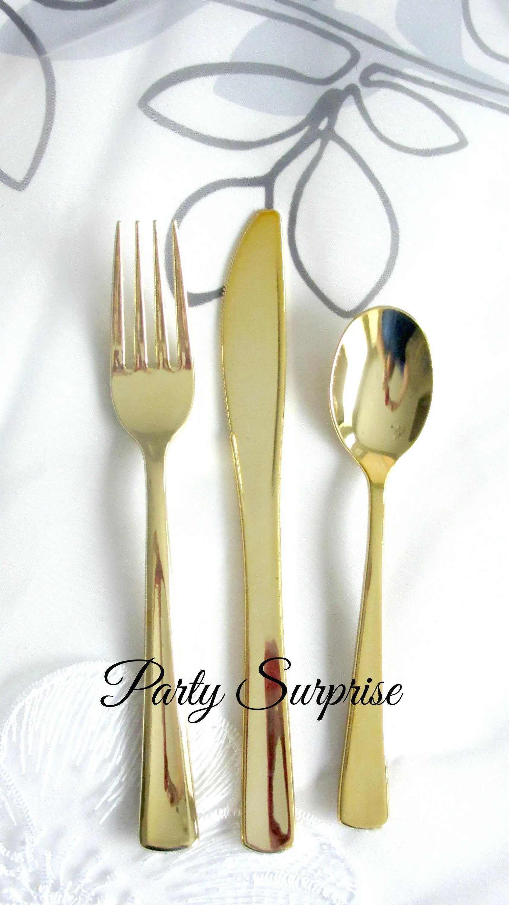 Gold Cutlery Sets Gold Cutlery Disposable Can T Believe Its Not Real Genuine Knives Forks Spoons Metallic Gold Upscale Party Flatware Sets Strong Silverware