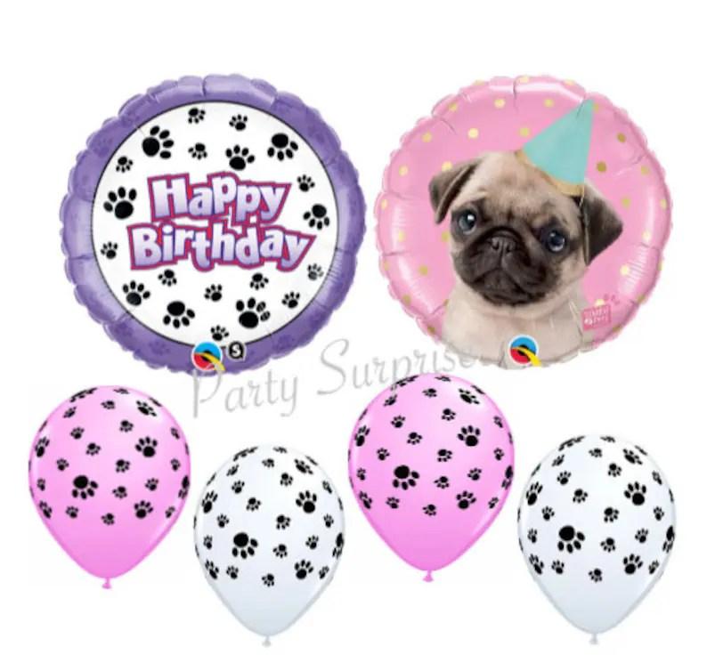 Paw Print Birthday Balloons Pug Balloon Puppy Dog Kids Etsy