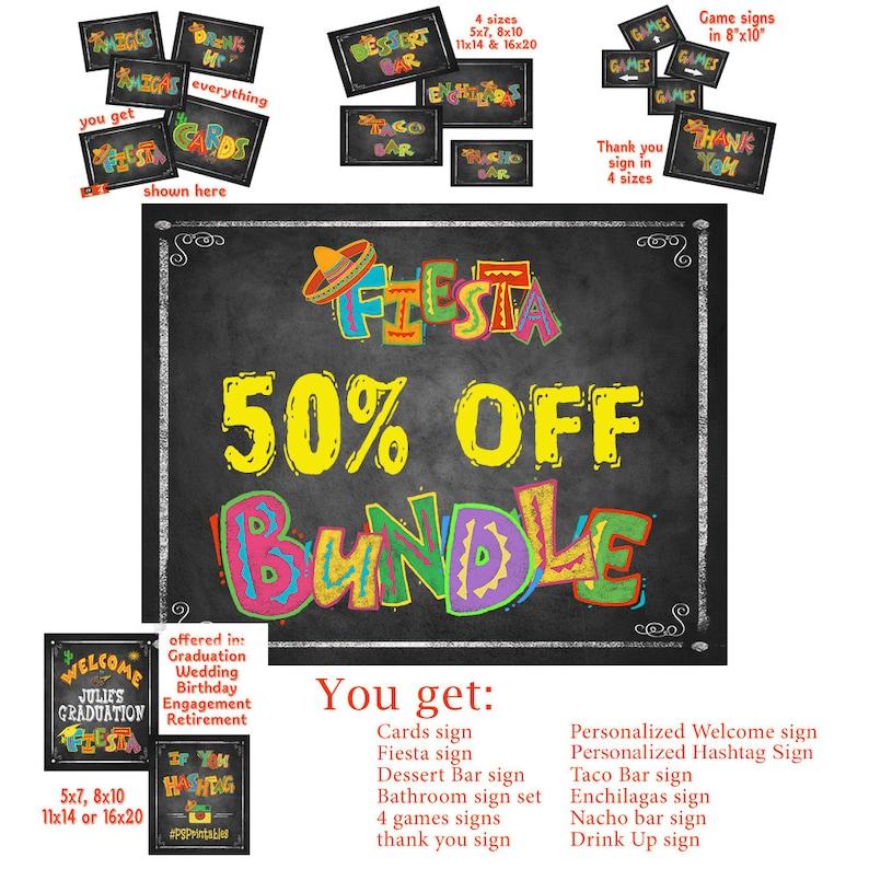 Printable Fiesta Bundle Pack of chalkboard signs for Etsy