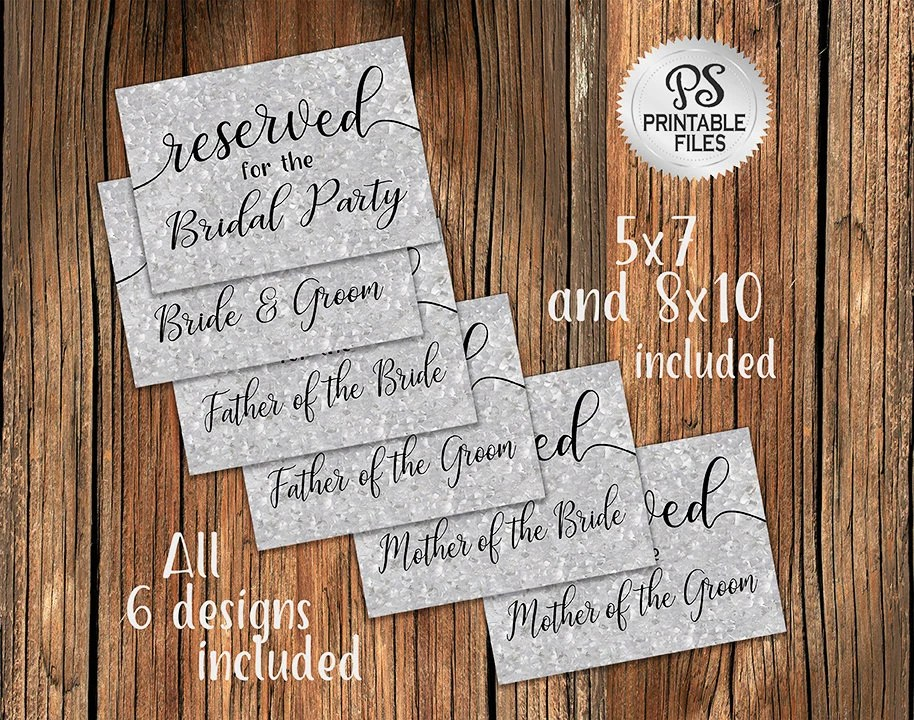 Wedding Reserved Sign Set of 6 PRINTABLE Galvanized Reserved