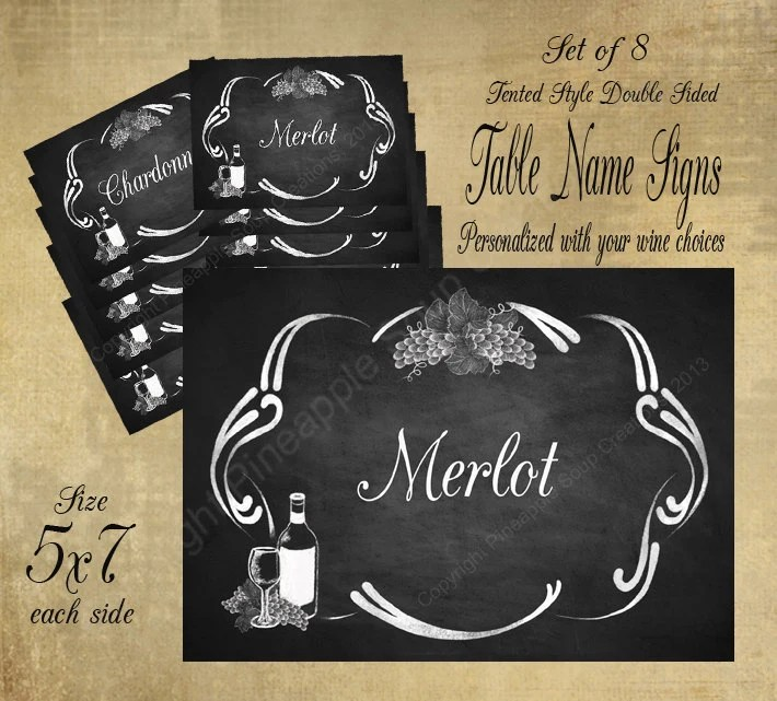 Printable Wedding Table Name Signs for your Vineyard or Winery