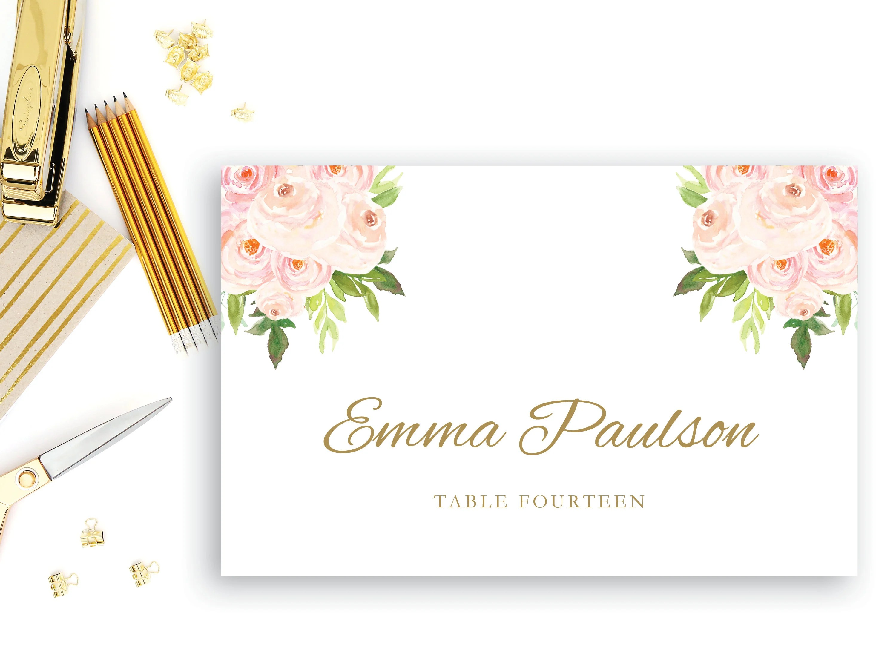 Place Card Template Flat Place Card INSTANT DOWNLOAD Etsy