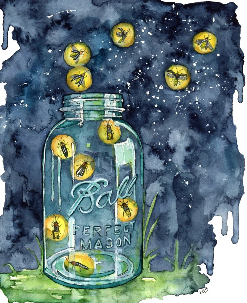 Firefly Jar Art Watercolor Firefly Jar Painting Print Titled