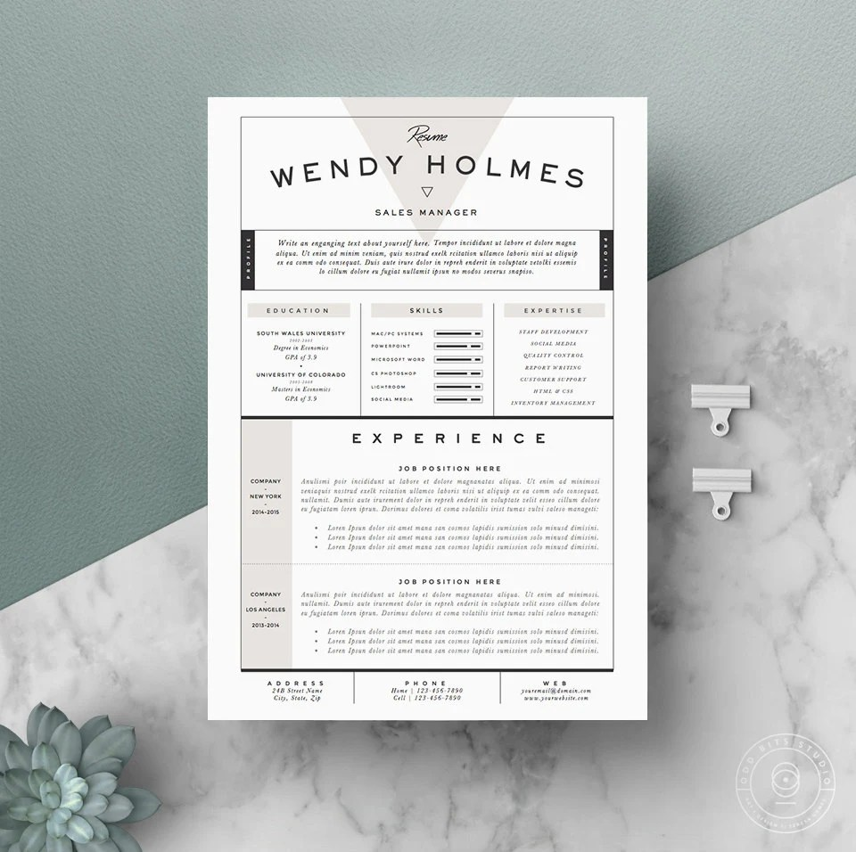 Resume Template / CV Template Cover Letter for Word 3 page Etsy