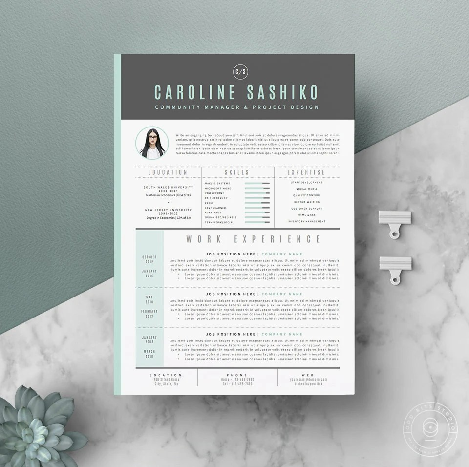 Resume Template / CV Template Cover Letter for Word 4 page Etsy