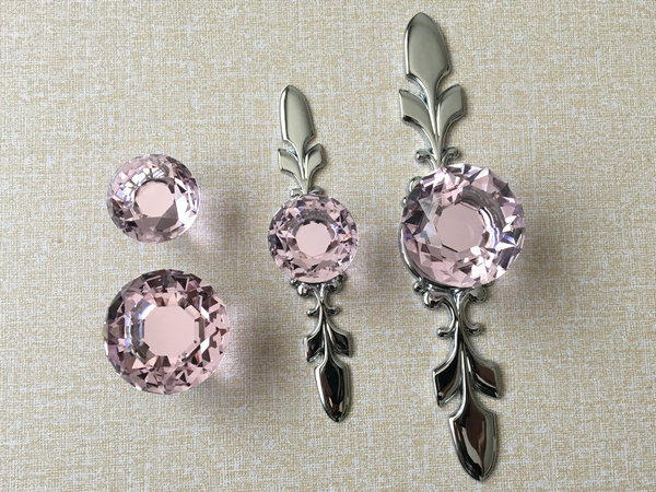 Pink Crystal Knob Rhinestone Dresser Knobs Glass Drawer