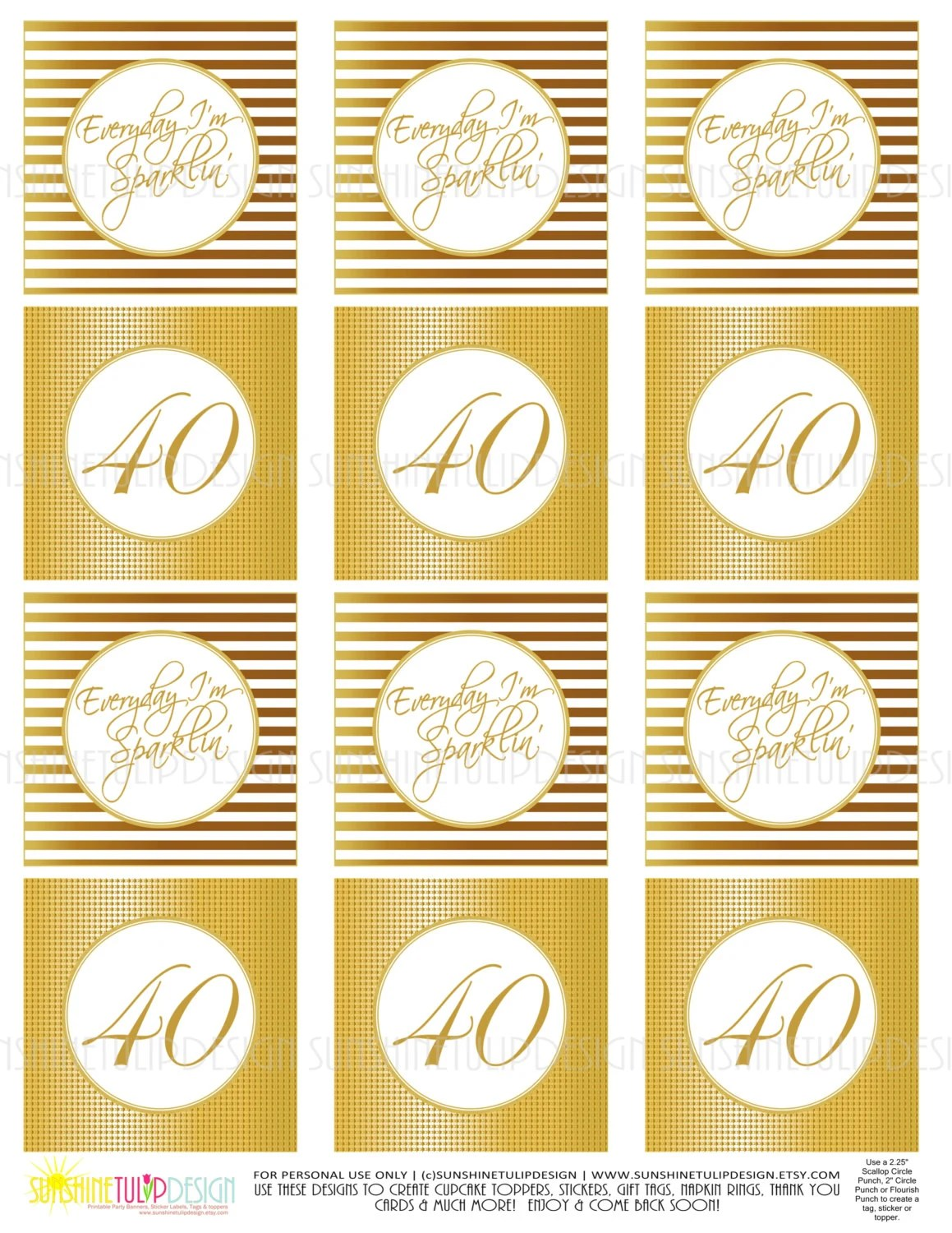 40th Birthday Gold Printable Cupcake Toppers Sticker Labels Etsy