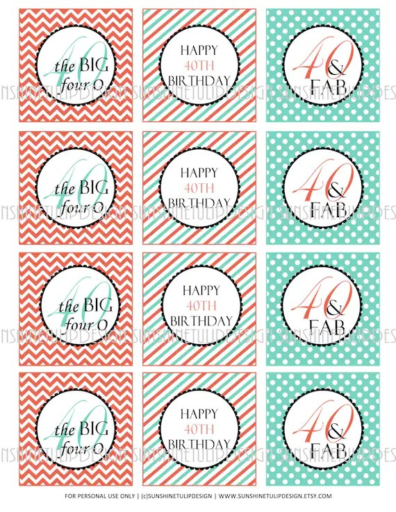 40th Birthday Printable DIY Party Tags and Cupcake Toppers by