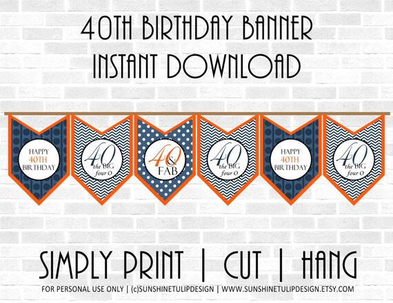 40th Birthday Printable Banner Orange and Navy Blue Chevron Etsy