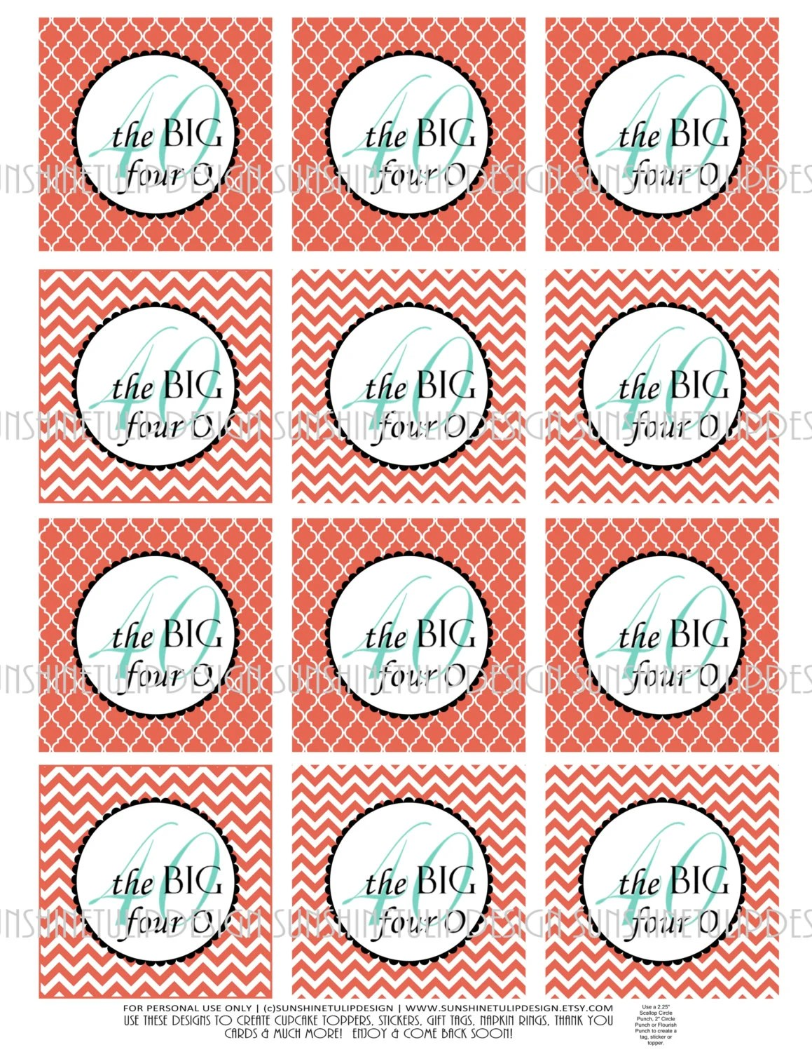 40th Birthday Printable DIY Cupcake Toppers Sticker Labels and Etsy