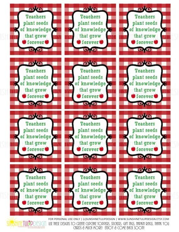 Printable Teacher Appreciation Gift Tags, Teacher Appreciation Plant