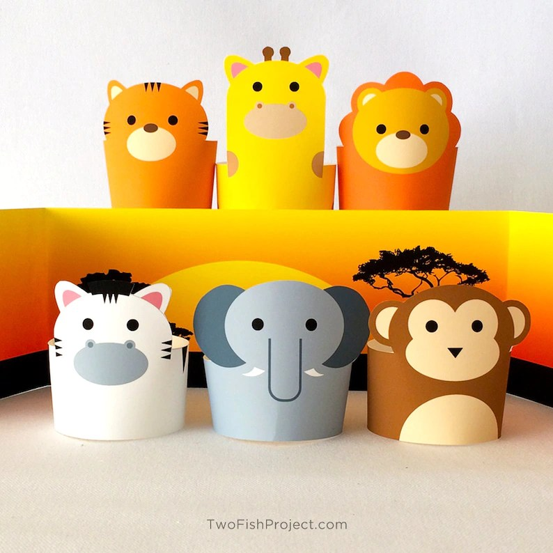Safari Jungle Paper Animals Diorama Kit Paper Crafts for Etsy