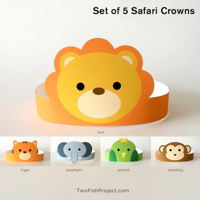 Jungle Safari Birthday Party Paper Crown/Hat Printable Mask Etsy