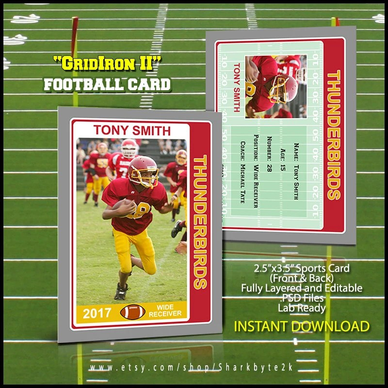 2017 Football Card Template for Photoshop Easily change Etsy