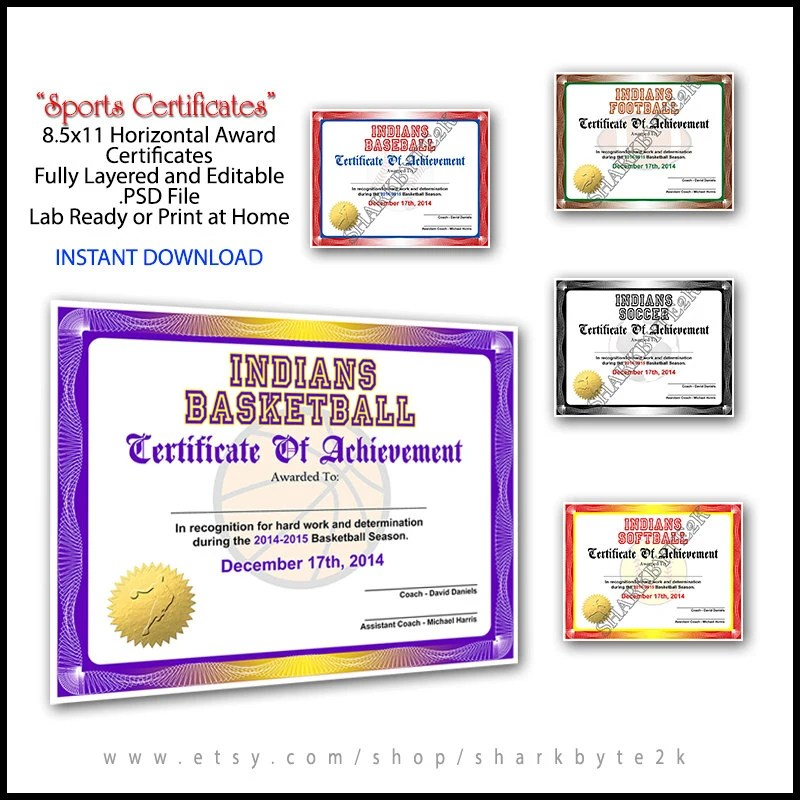 5 in 1 Sports Award Certificate Achievement Photoshop Etsy