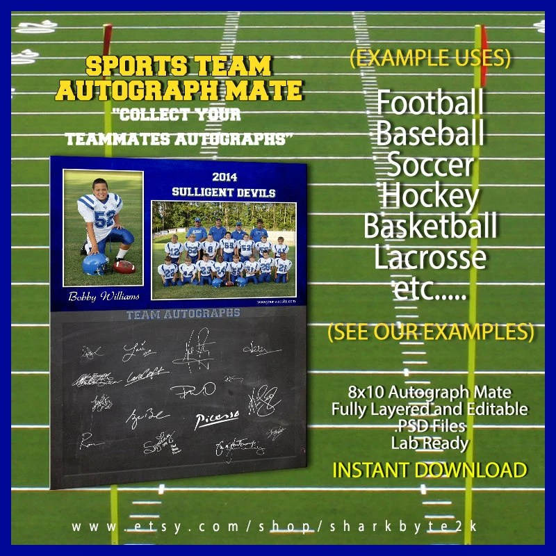 Sports Team Autograph Signature 8x10 Photoshop Template for Etsy