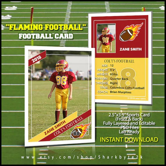 2017 Football Card Template Perfect for trading cards for Etsy