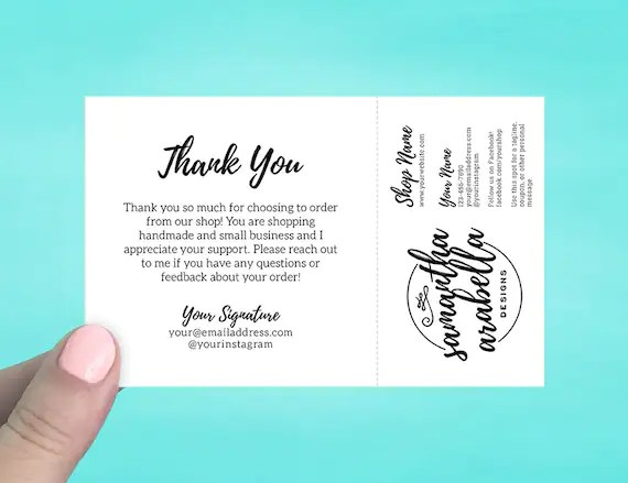 Note Cards with Tear Off Business Card Thank you cards Etsy