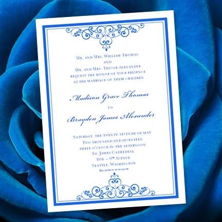 Royal Blue Wedding Invitation Template Editable Microsoft Etsy