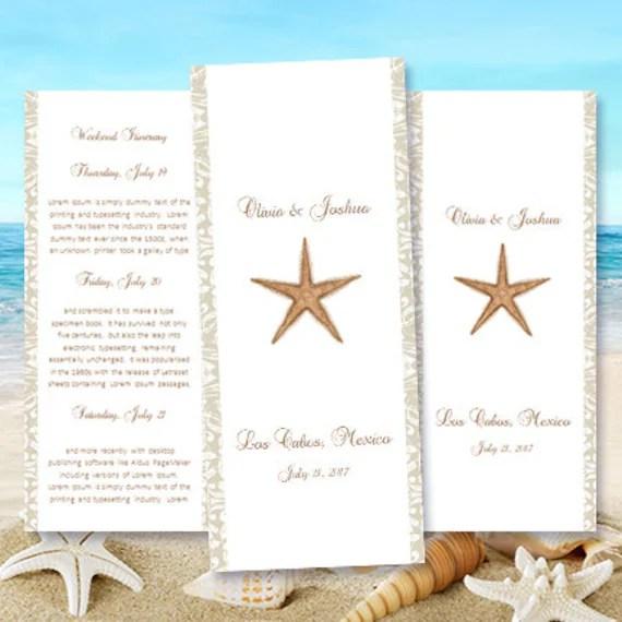 Destination Wedding Itinerary Template Starfish Etsy - wedding itinerary template word