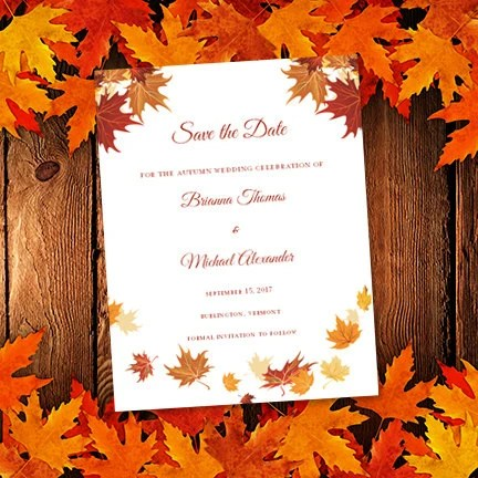 Falling Leaves Printable Save the Date Card Autumn or Etsy