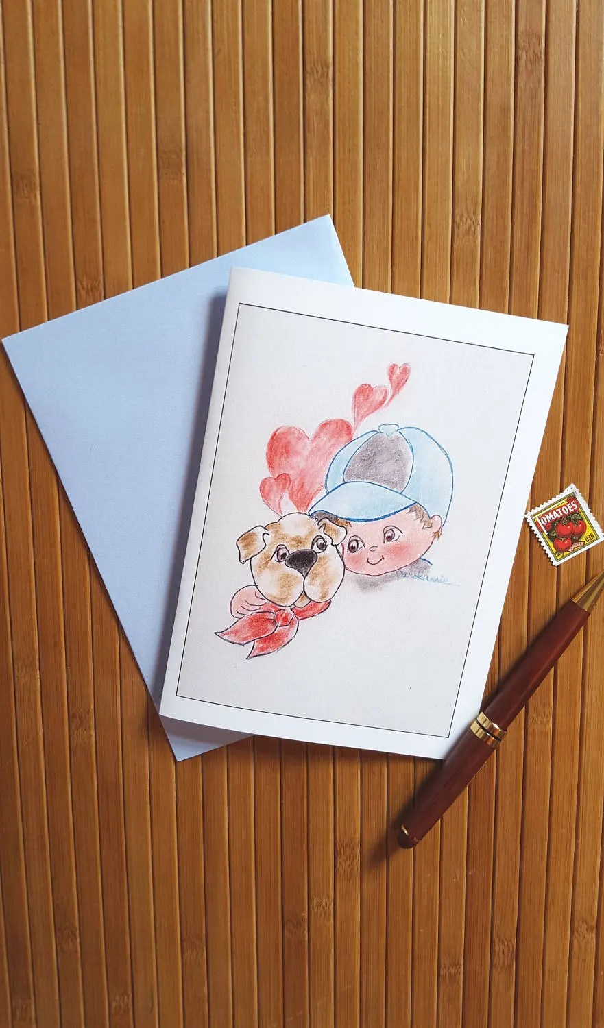 Boy and Beagle Note Cards Blank Note Cards Beagle Note Etsy