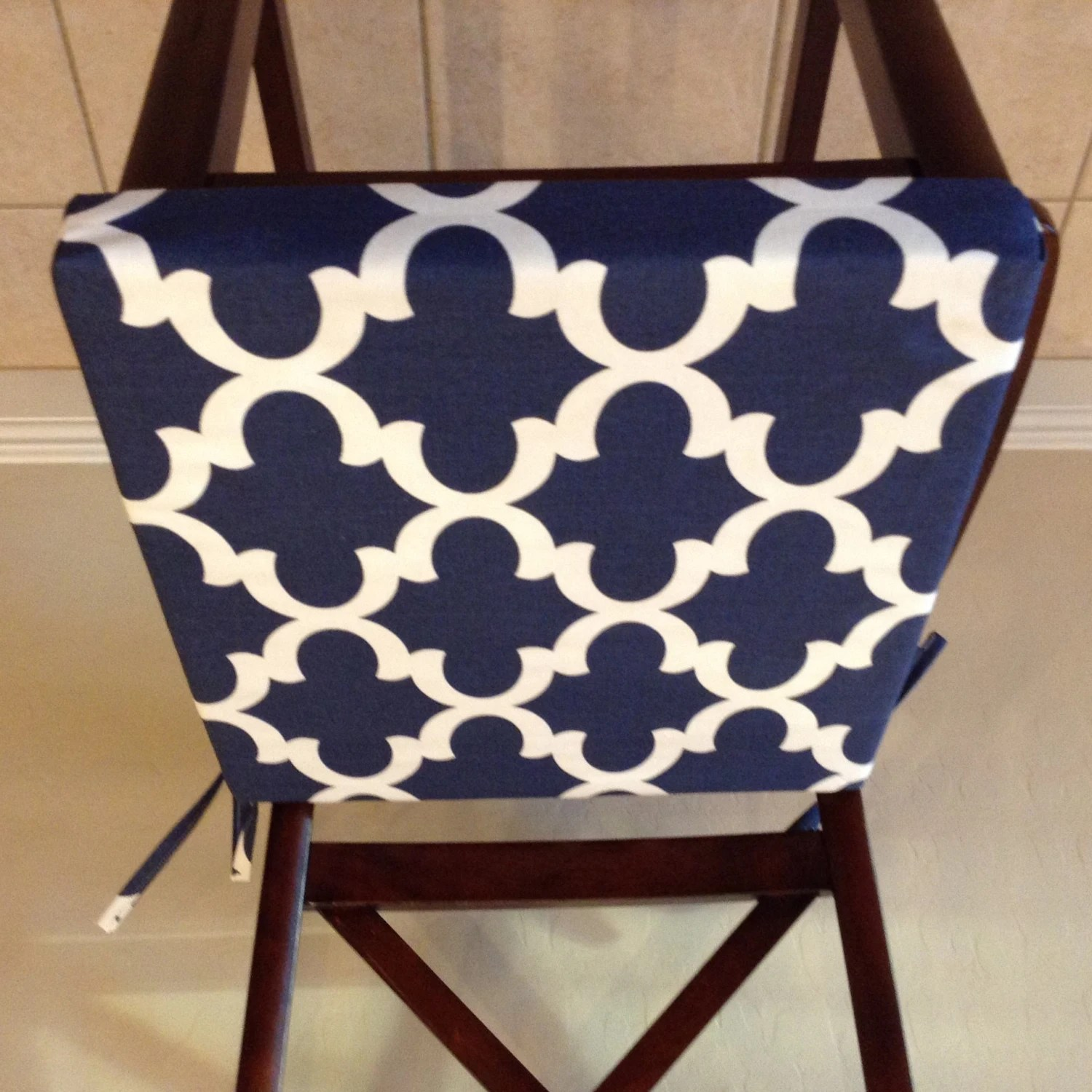 Chair Seat Cushions Replacement Cushion Cover Custom Navy Blue Geometric Fabric
