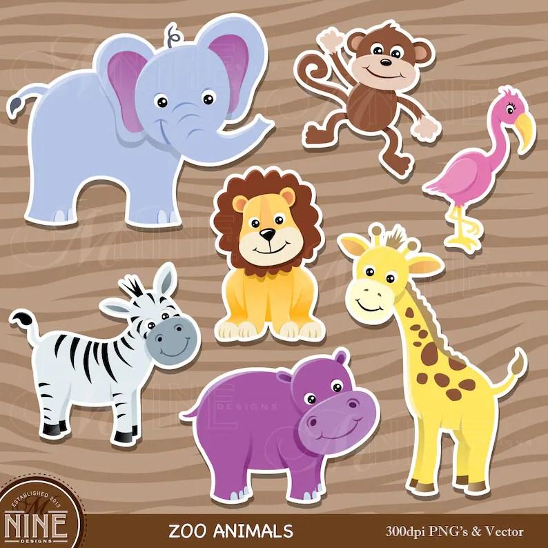 Zoo Animal Sticker Clip Art / ZOO ANIMALS Clipart Downloads / Etsy