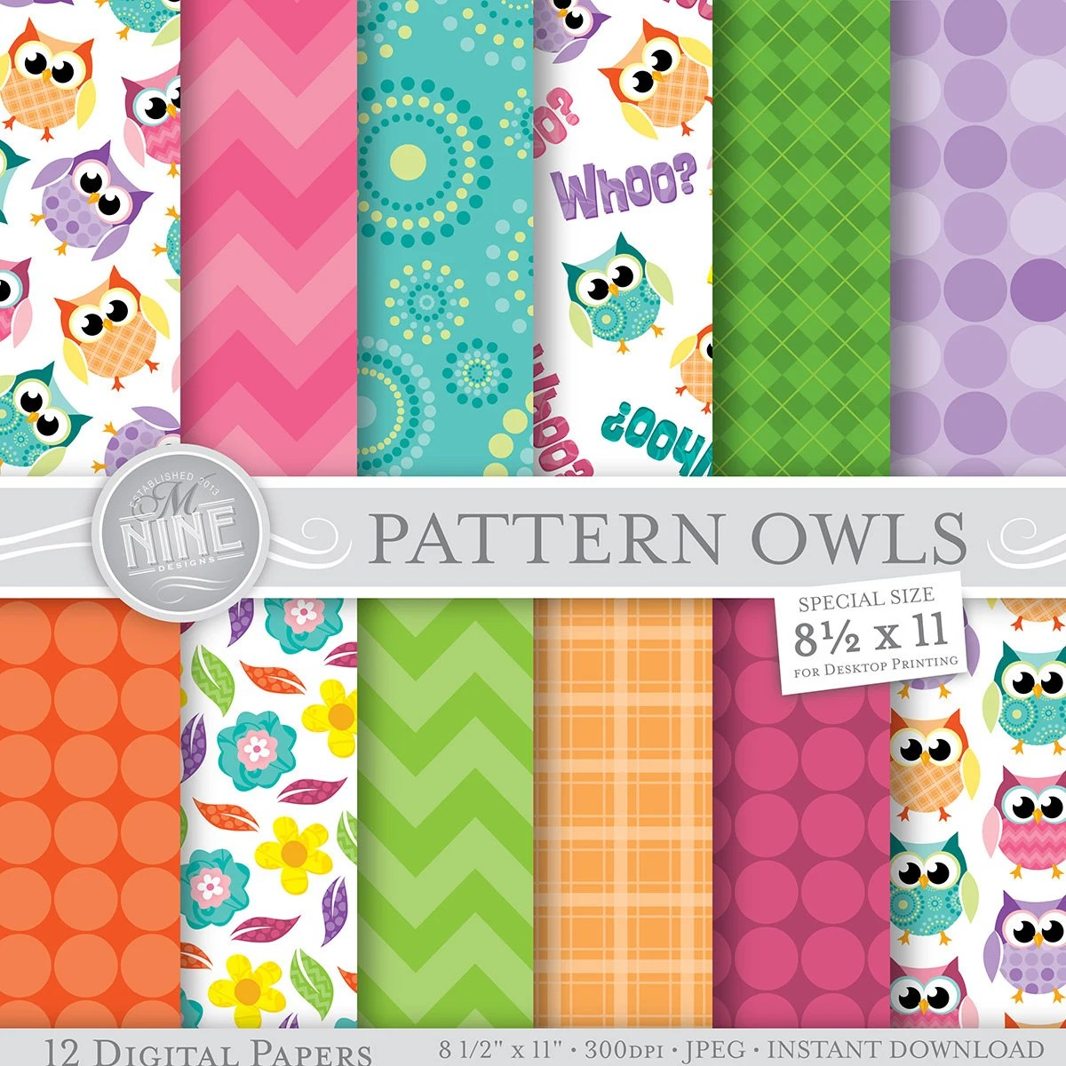 Owl Theme Digital Paper PATTERN OWLS Printable Pattern Print Etsy