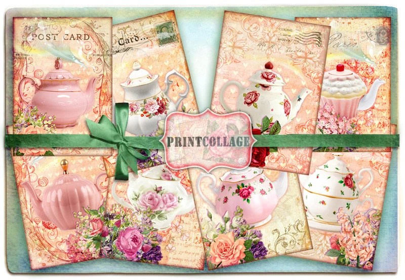 Shabby Chic Teapot Digital Collage Sheet Designed Gift Tags Etsy
