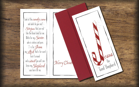 Christmas Card printable Candy Cane Tri-fold card digital Etsy