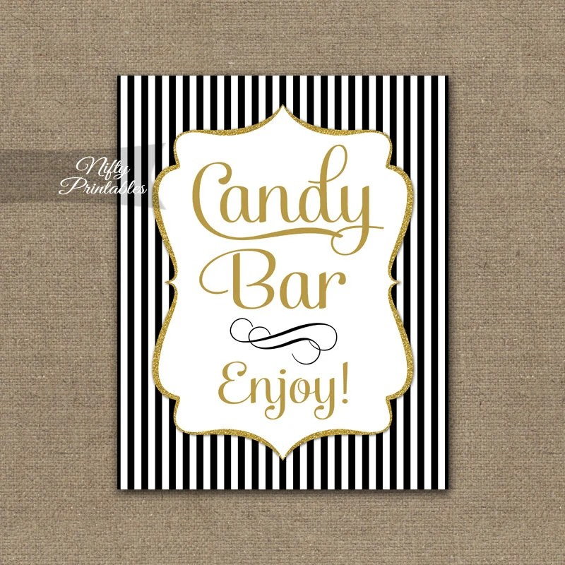 Candy Bar Sign Black Gold Candy Buffet Sign Black White Etsy