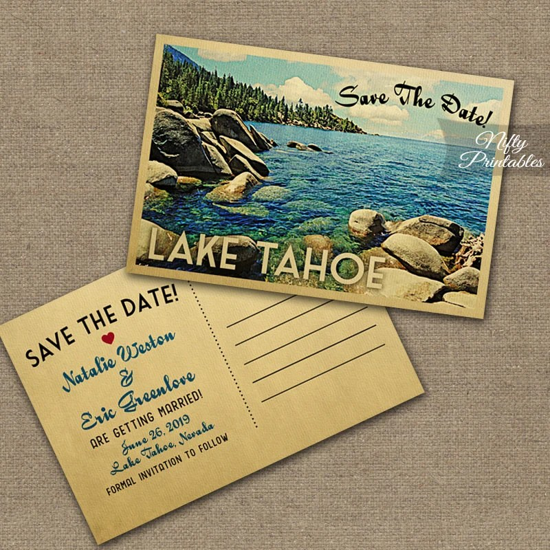 Lake Tahoe Save The Date Postcards Vintage Destination Etsy - save date postcard