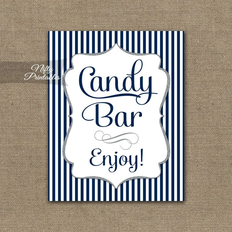 Candy Bar Sign Navy Blue Candy Buffet Navy White Printable Etsy