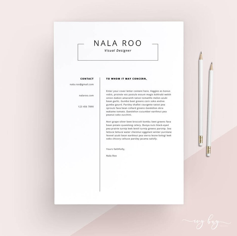 Clean Cover Letter Template Cover Letter Letterhead Word Etsy