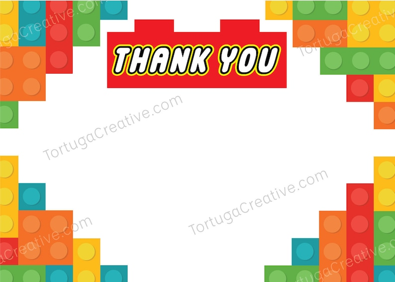 4x6 Printable Lego Thank You Cards Etsy