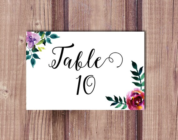Table number card wedding table card watercolor flowers Etsy