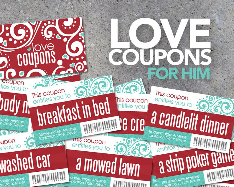 Love Coupons FOR HIM Printable Digital File Instantly Etsy